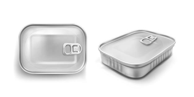 Sardine blikje met trekring mockup bovenaan en hoekweergave. voedsel metalen pot met gesloten deksel, zilverkleurige aluminium rechthoek behoudt bus geïsoleerd op een witte achtergrond, realistische 3d-vector iconen Gratis Vector