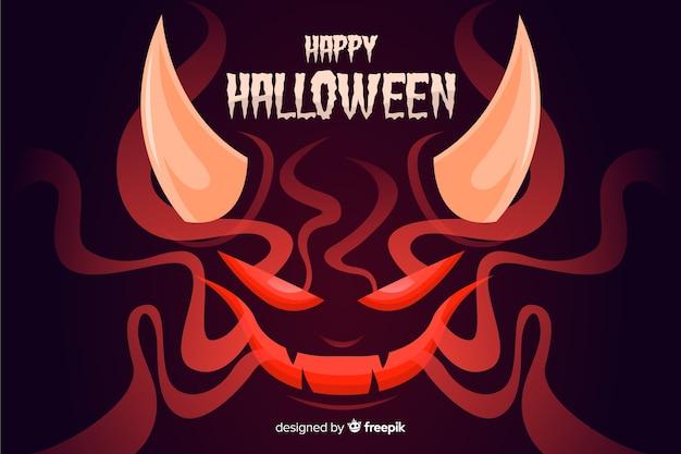 Satan halloween-achtergrond met vlak ontwerp Gratis Vector