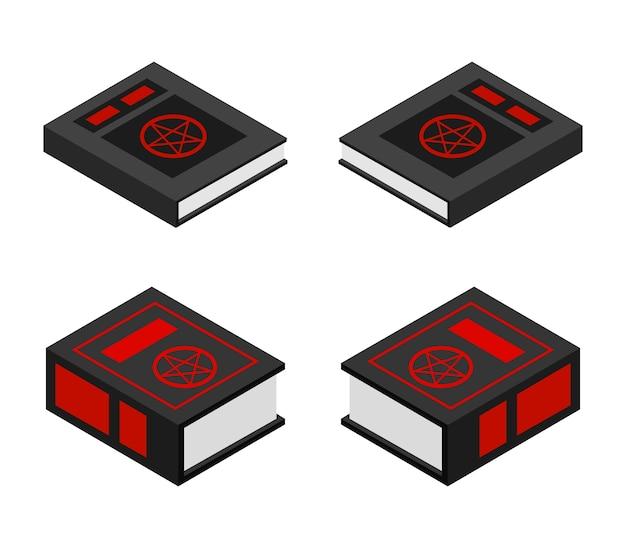 Satanisch boek halloween isometrische set Gratis Vector