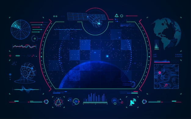 Satelliet- en communicatietechnologie interface Premium Vector
