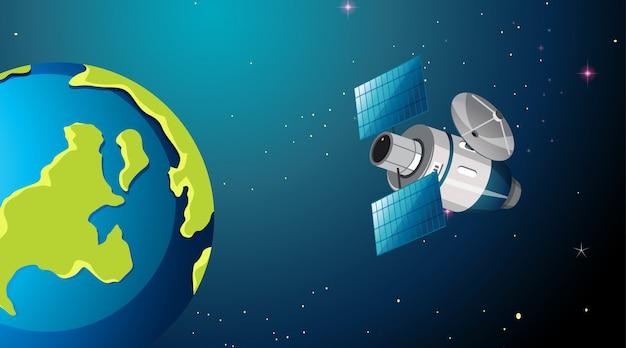 Satelliet in ruimtescène of achtergrond Gratis Vector