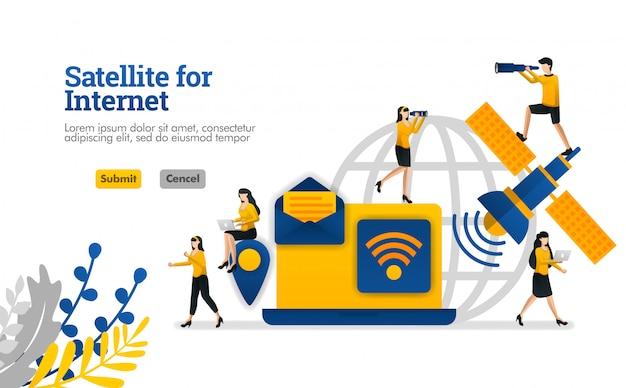 Satelliet voor dingen van het internet en dagelijkse en zakelijke digitale behoeften vectorillustratie Premium Vector