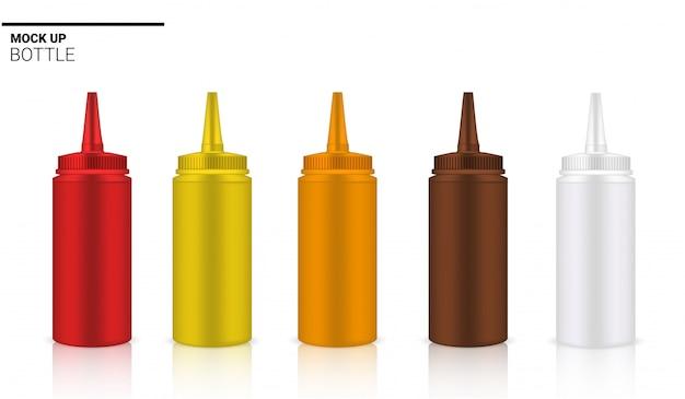 Sausfles realistische rode, bruine en gele ampul of druppelaar verpakking. Premium Vector