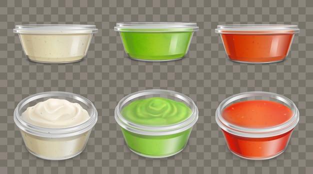 Sauzen in plastic containers realistische vectorreeks Gratis Vector