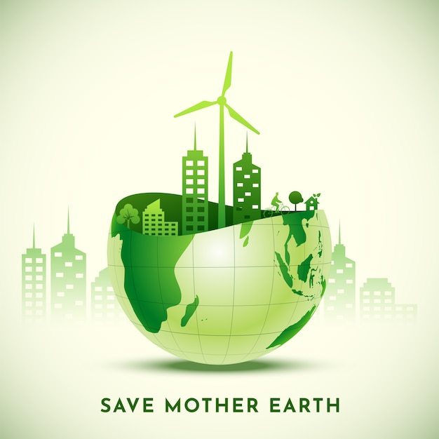Save mother earth concept met uitzicht op eco city over glanzende halve wereldbol. Premium Vector