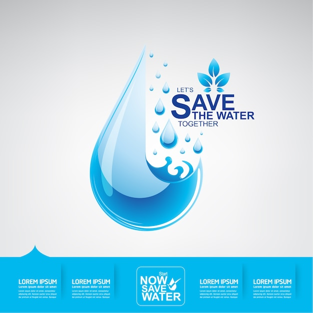 Save the water vector Premium Vector