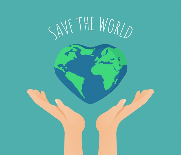 Save the world-illustratie Premium Vector