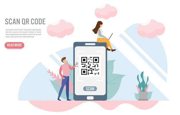 Scan qr-code. betalingsconcepten met karakter Premium Vector