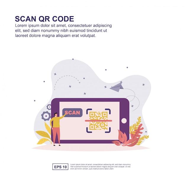 Scan qr-code concept Premium Vector