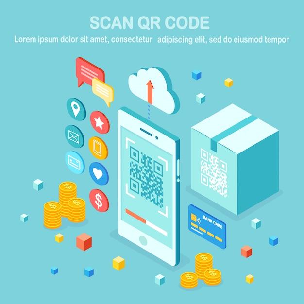Scan qr-code naar telefoon. mobiele barcodelezer, scanner met kartonnen doos, wolk, creditcard, geld. elektronische digitale betaling met smartphone. isometrisch apparaat. Premium Vector