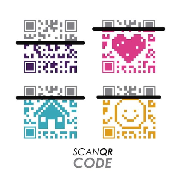 Scan qr-code ontwerp Premium Vector