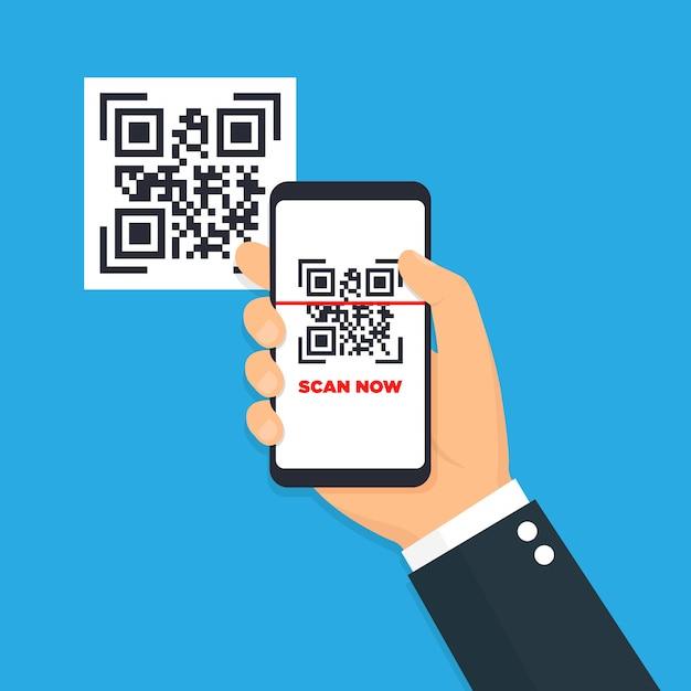 Scan qr-code plat pictogram met telefoon. barcode. illustratie. Premium Vector
