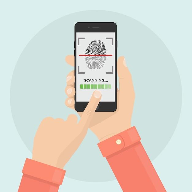 Scan vingerafdruk naar mobiele telefoon. beveiligingssysteem voor smartphone-id. digitale handtekening concept. biometrische identificatietechnologie, persoonlijke toegang. Premium Vector