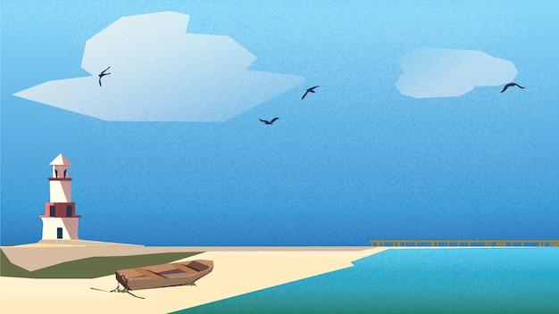 Scandinavisch of noords kustlandschap. vuurtoren, houten boot op het strand met steiger onder blauwe hemel en turquoise groene zee. Premium Vector