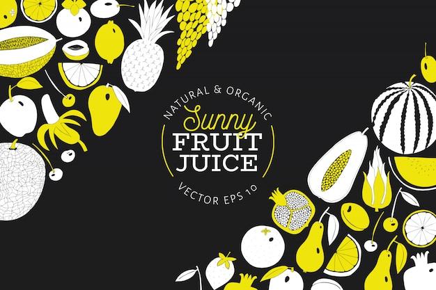 Scandinavische hand getrokken fruit ontwerpsjabloon. Premium Vector