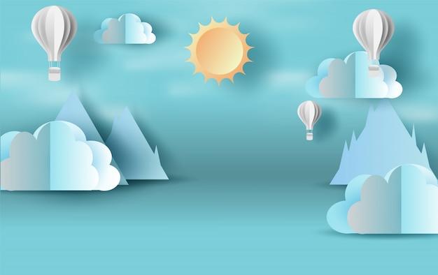 Scène blauwe lucht met cloudscape ballonnen Premium Vector