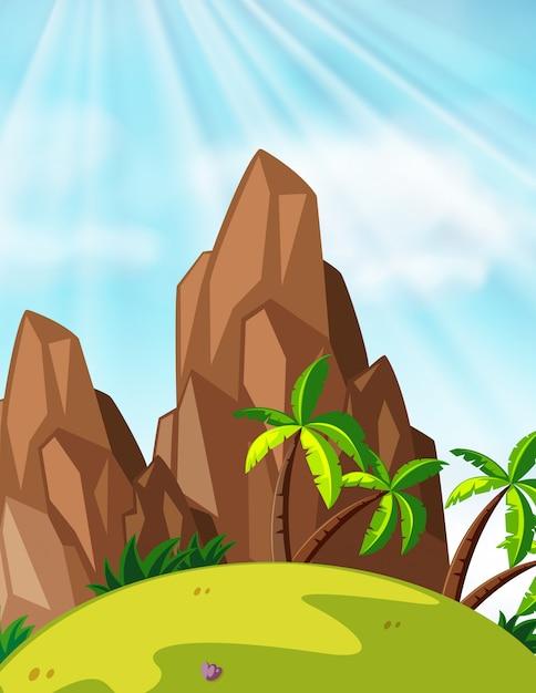 Scène met bergen en kokospalmen Gratis Vector