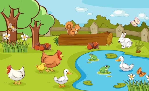 Scène met boerderijdieren op de boerderij Gratis Vector