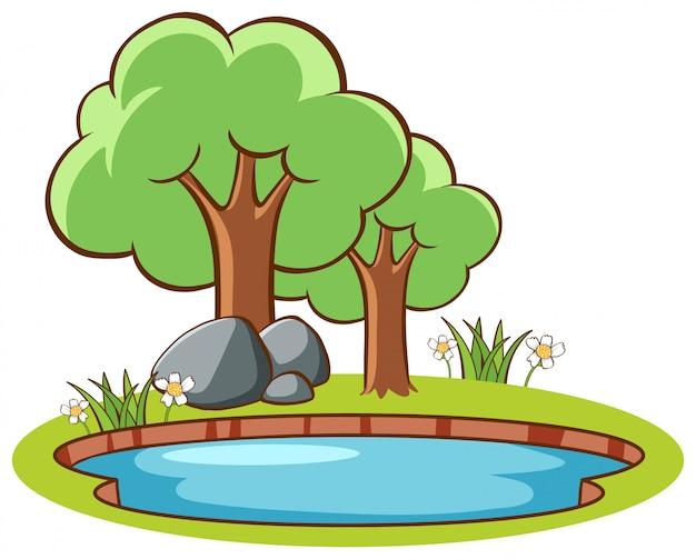 Scène met bomen bij de vijver Gratis Vector