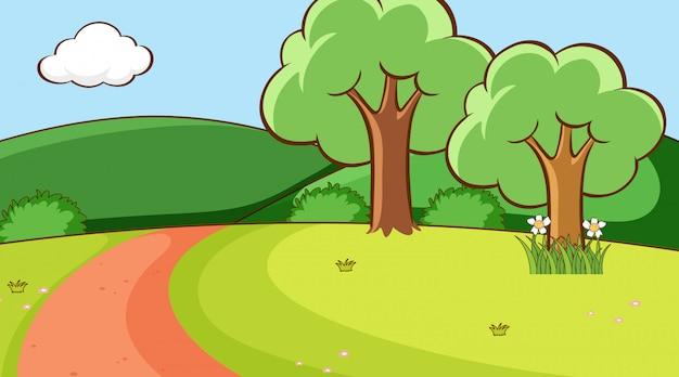 Scène met bomen en weg op de heuvel Gratis Vector