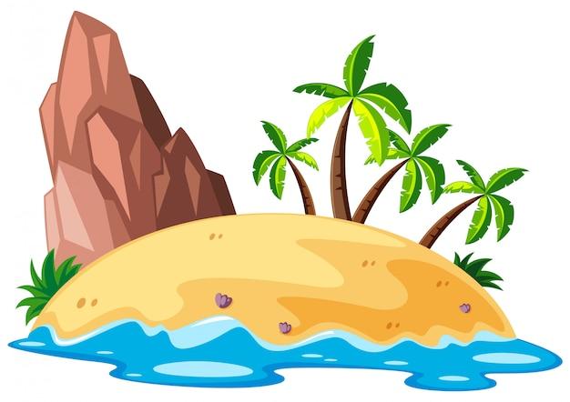 Scène met eiland in de zee Gratis Vector