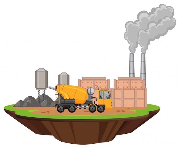 Scène met fabrieksgebouwen en cementmixer Gratis Vector