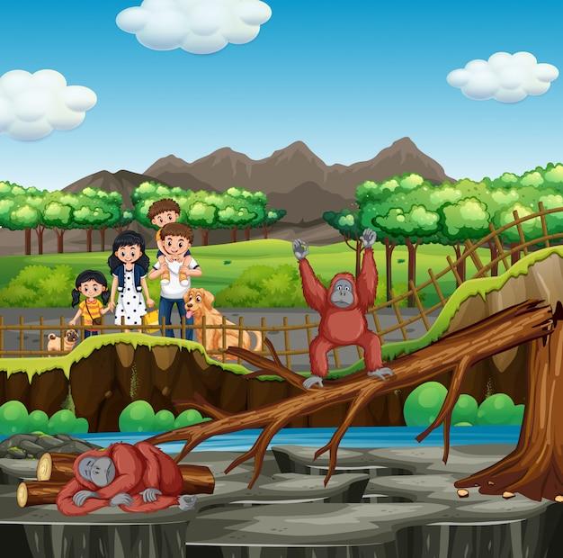 Scène met familie die de dierentuin bezoekt Gratis Vector