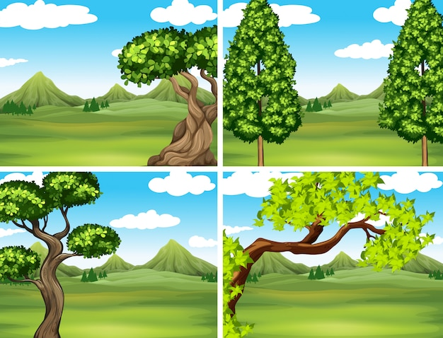 Scène met groen gras en bergen Gratis Vector