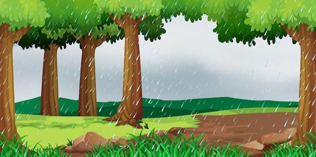 Scène met het regenen in het park Gratis Vector
