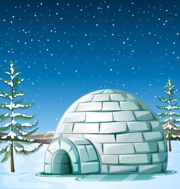 Scène met iglo op sneeuwende dag Premium Vector