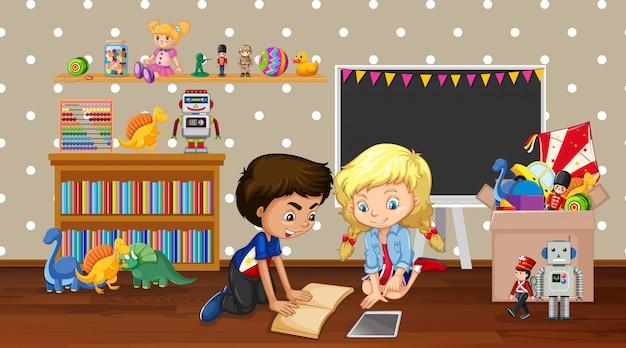 Scène met jongen en meisje spelen in de kamer Gratis Vector