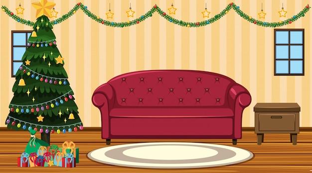 Scène met kerstboom bij de bank Premium Vector