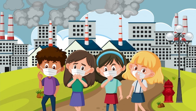 Scène met kinderen die een masker dragen in de vervuilde stad Premium Vector