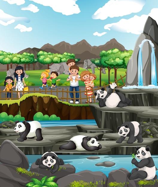 Scène met kinderen en panda's Gratis Vector