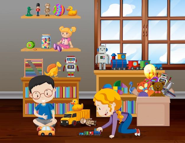 Scène met kinderen spelen in de kamer Premium Vector