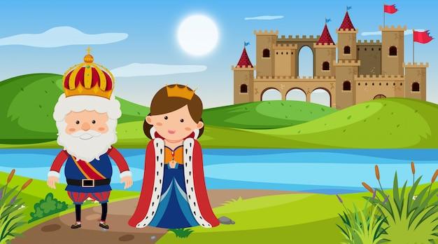Scène met koning en koningin in het park Premium Vector