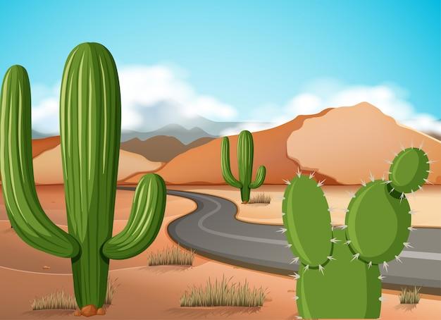 Scène met lege weg in de woestijngrond Premium Vector