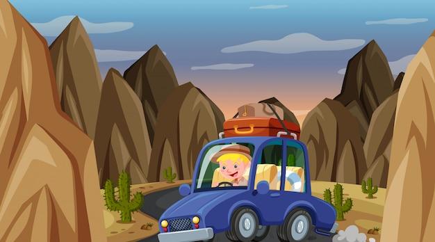 Scène met man rijdende auto in de berg Premium Vector