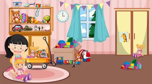 Scène met meisje speelt speelgoed in de kamer Gratis Vector