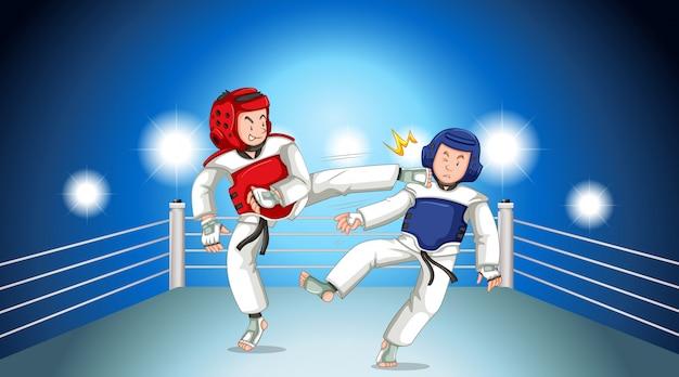 Scène met mensen die taekwondo in de ring spelen Gratis Vector