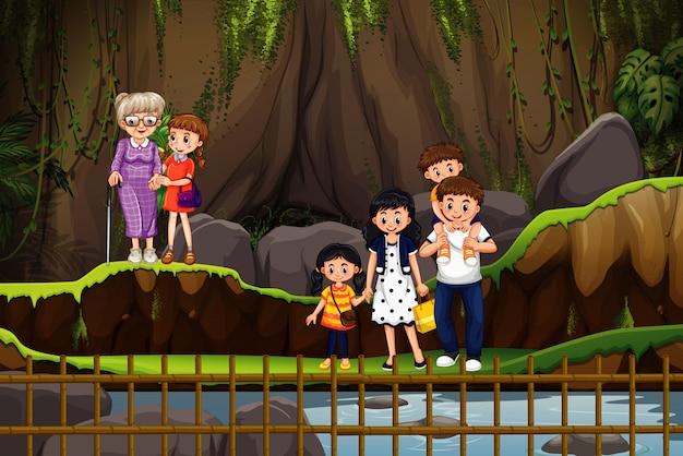 Scène met mensen in het park Gratis Vector