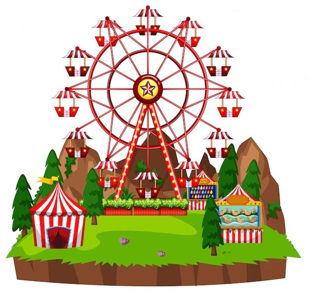 Scène met reuzenrad en circusspelen in het park Gratis Vector