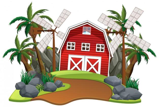 Scène met rode schuur en windmolens op witte achtergrond Gratis Vector
