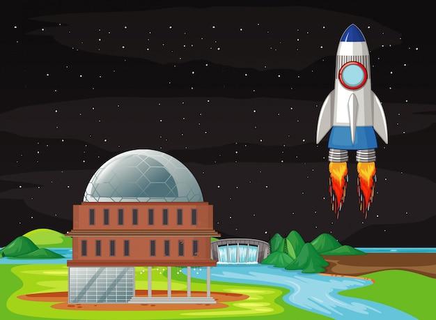 Scène met ruimteschip vliegen in de lucht Gratis Vector