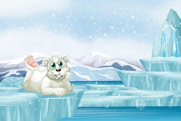 Scène met schattige ijsbeer op ijs Gratis Vector