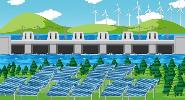 Scène met schone energie in het veld Premium Vector