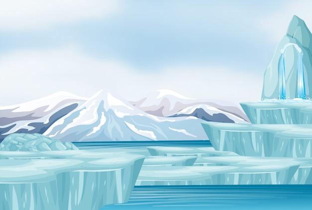 Scène met sneeuw en ijsberg Gratis Vector
