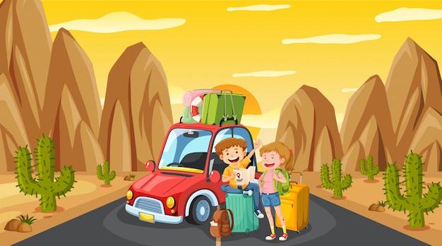 Scène met toerist rijden op de weg bij zonsondergang Premium Vector
