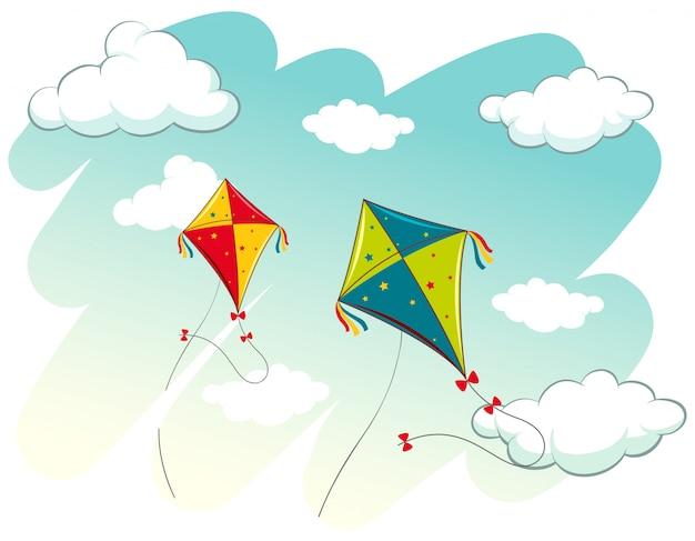 Scène met twee vliegers in de lucht Gratis Vector