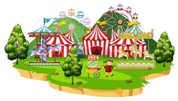 Scène met vele attracties in het circuspark Gratis Vector
